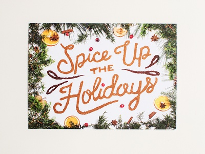 ICS Holiday Card food typography design studio prop styling oranges apple hand lettering lettering holiday card cinnamon mulling spices food type typography