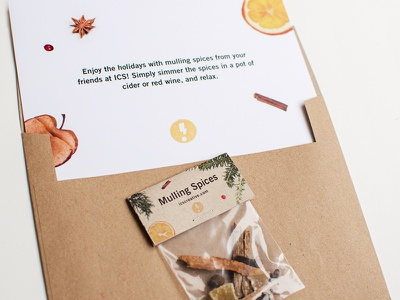 ICS Holiday Card studio promo holiday promo packaging design packaging card postcard typography mulling spices design studio holiday card