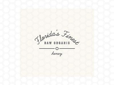 Florida's Finest Raw Honey chic logo script logo raw honey honeycomb hexagon organic brand logo