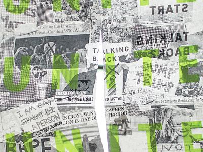 UNITE art not war social change protest news paper half tone politics screenprinting collage unite
