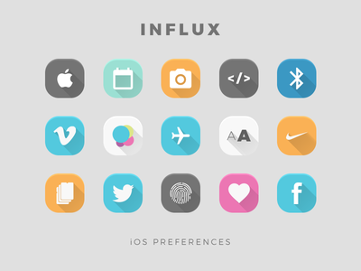 INFLUX iOS Preference Icons theme jailbreak ios icons influx