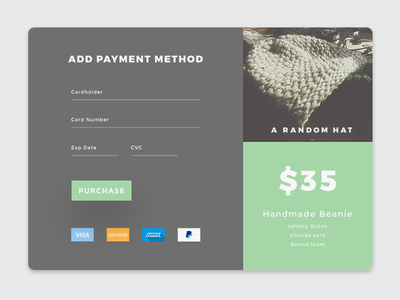 Daily UI #002 - Credit Card Checkout payment method a random hat checkout challenge daily dailyui