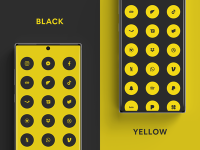 Black & Yellow Flatcons flatcons flat minimal icon clean a random package icon pack icons android