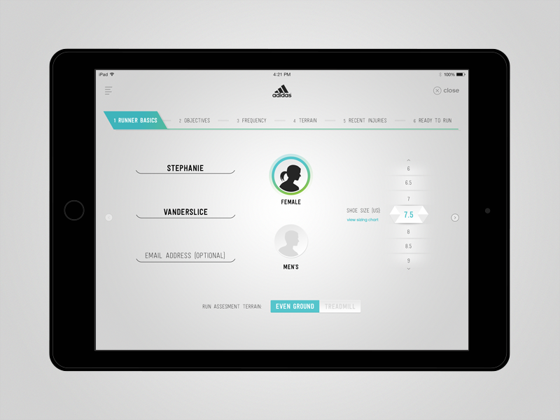 adidas Run Genie - Runner Info by Simonne Brown for Engine Digital