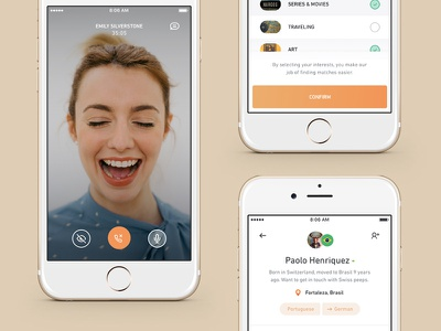 Screens Part 3 ux ui interests profile product mobile language ios interaction chat app account