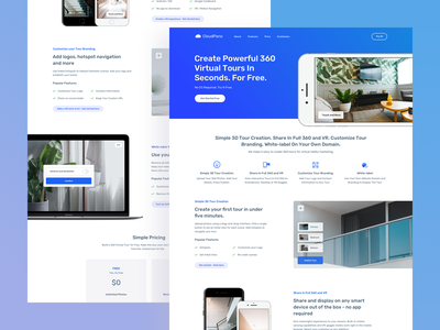 CloudPano - 360 Virtual Tour Software Landing Page website 360 vr ui saas product interface landing page design uiux
