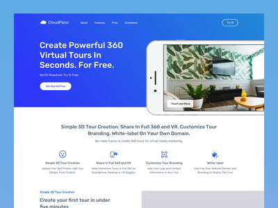 CloudPano Landing Page Interactions vr 360 saas webdesign web ui interface design uiux interaction animation