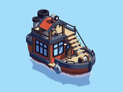 Bear boat isometric isometric illustration boat drawing photoshop bear bears illustration