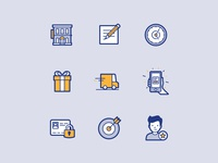 Peek'in icon set #2 adobe illustrator graphism personal information rating gift target notification clock note delivery hotel brand design brandidentity branding iconography icons