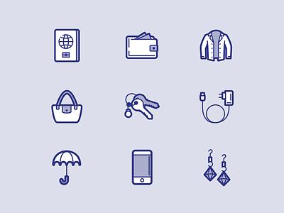 Peek'in icon set #3 earings phone umbrella charger keys purse jacket wallet passport iconography icons branding brandidentity brand design adobe illustrator