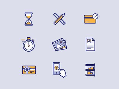 Peek'in icon set #4 hourglass shelf phone gift card resume pictures chronometer creditcard iconography branding brand identity brand design icons illustration illustrator