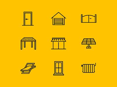 Koov Icon set icons adobe illustrator iconographic radiator window velux solar panel gate garage door brand identity iconography