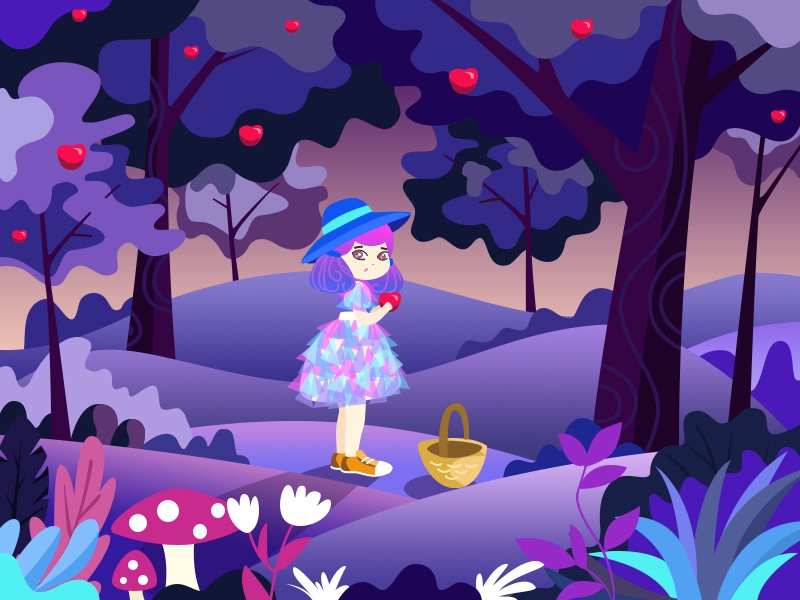 Lost Princess - 06/28/2017 at 01:39 AM scenery woman illustration dream lost forest girl violet