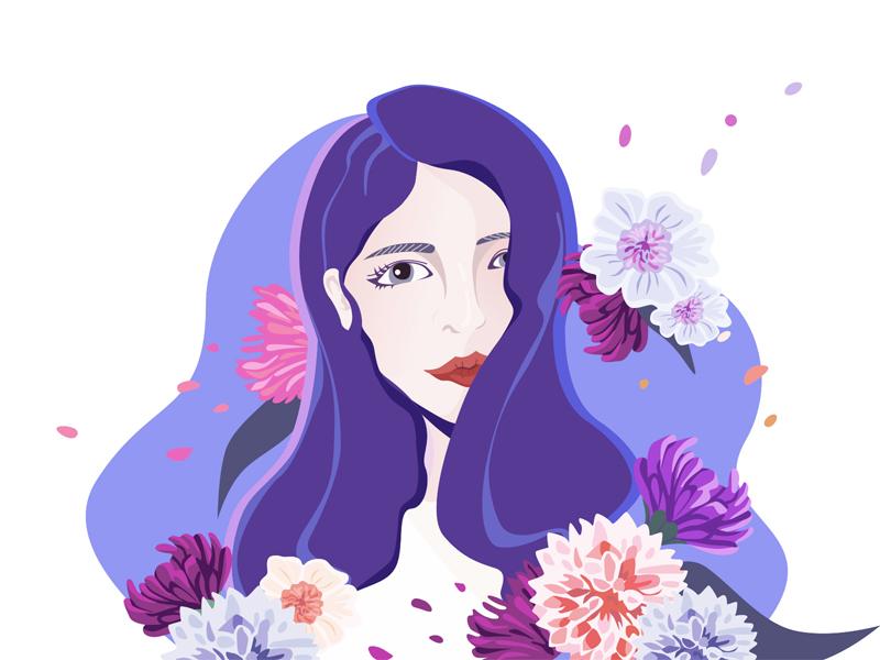 Girl petal self-portrait portrait head blue pink purple illustration flower love girl pretty