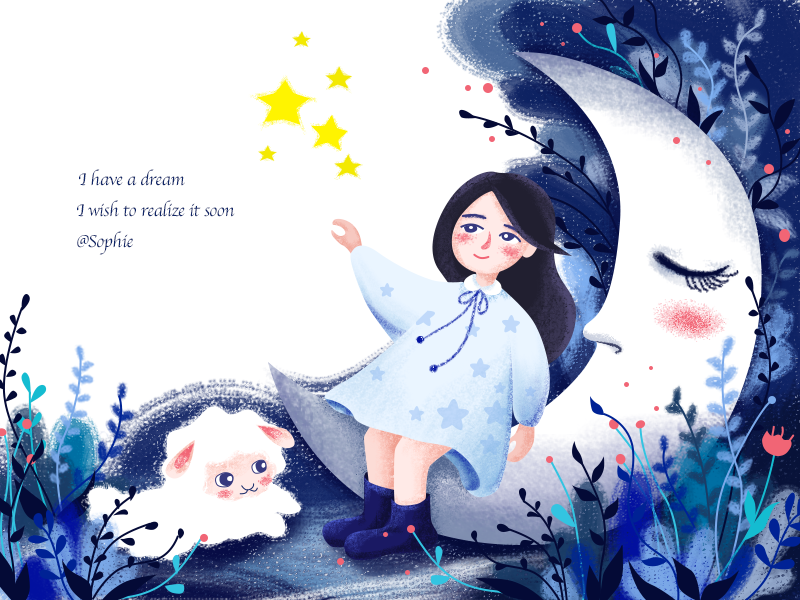 Dream illustration star flower sheep girl moon blue dream