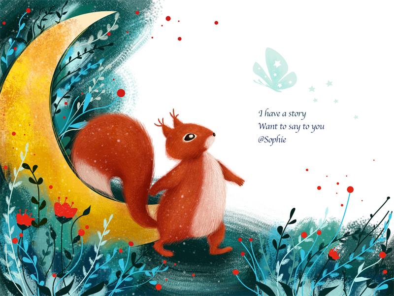 Heard... orange illustration animal story grass flower butterfly green squirrel moon