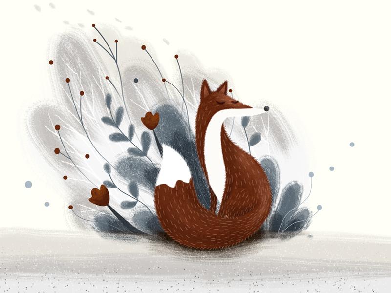 Hear... cool colors warm illustration flower grass fox