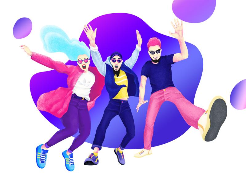 Leap jump vortex texture colour blue character illustration violet
