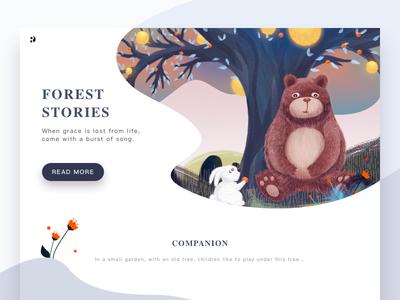 Forest story flower website tale fairy grass rabbit tree bear forest