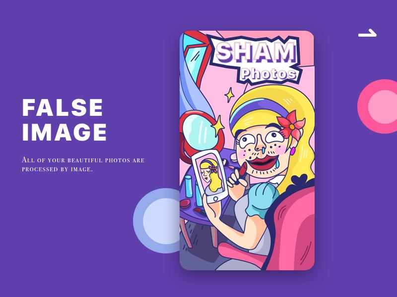 Sham photos violet pink mirror character illustrations image false photo sham