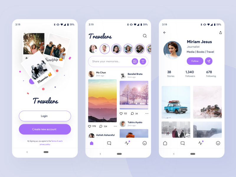 Travelers | social media app exploration socialmedia follow android chat account login profile purple social ios vector nice100 branding she typography web design mobile illustration sudhan