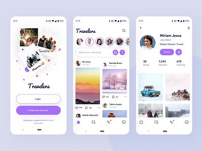 Travelers | social media app exploration socialmedia follow android chat account login profile purple social ios vector nice100 branding she typography web design mobile illustration sudhan