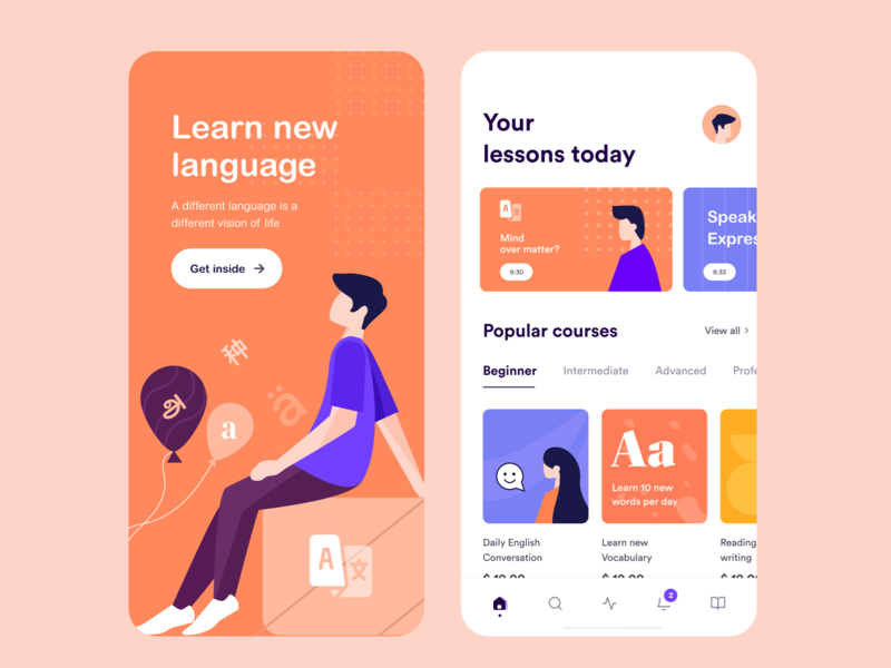 Learning App concept notification activity home translate language balloon colors branding today ios typography iphone design mobile illustration sudhan application learning english app