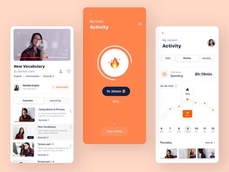 Learning App   Daily Activity language date subscribed profile english tutorials video burnout activity she vector branding sudhan typography design app illustration event learning education