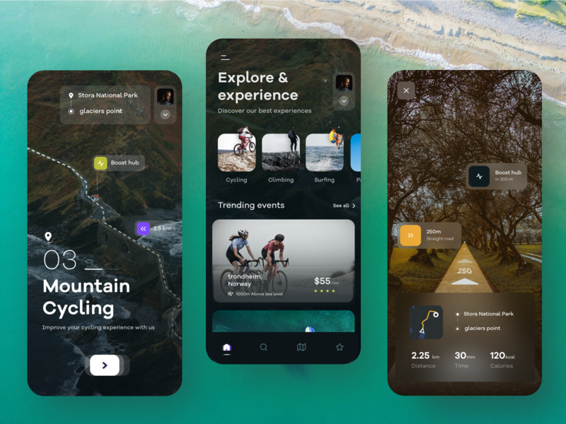 Tour app rating surfing mountain bike cycling neon social media banner ios mobile tour behance app night colors nature web typography design illustration sudhan