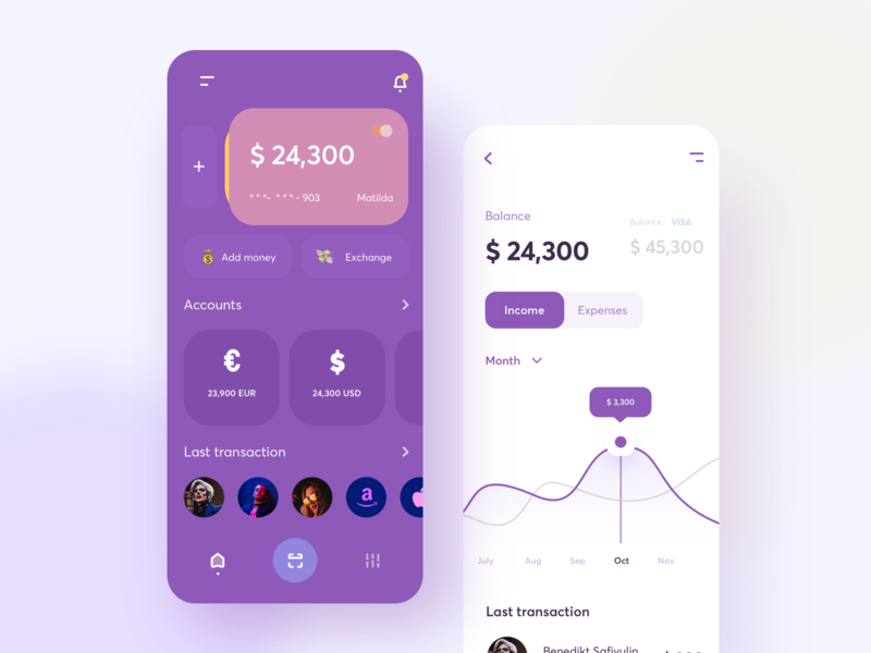 Finance app she people add chart card share income expenses balance transactions sudhan branding typography mobile exchange euro dollar statistics finance money