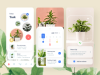 Plant growing app task lilly fertilizer growing morning garden water pot leaves branding nature typography design app sudhan illustration plants