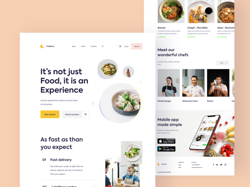Malena web exploration foodie get started psychology people branding vector food webbb chef food and drink japanese logo web typography sudhan restaurant food