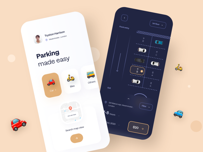 Parking app comcept location customer experience ux sudhan roads address app vector branding hours ios iphone typography design mobile bike cars parking