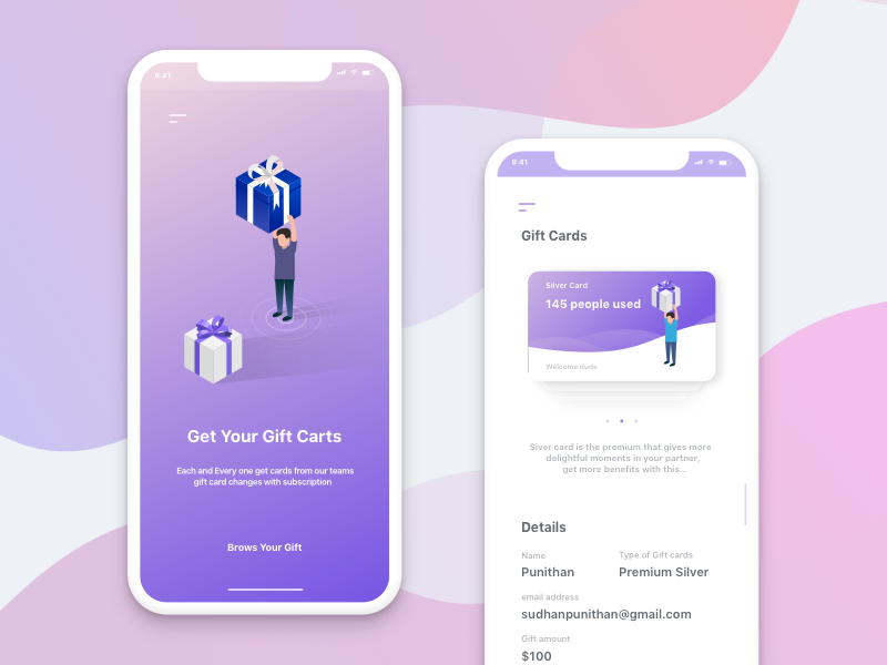 Gift Card Concept isometric brows iphonex silver mobile app card gift