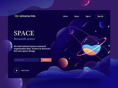 landing page | space center app stars web illustration page landing solar liquid planets