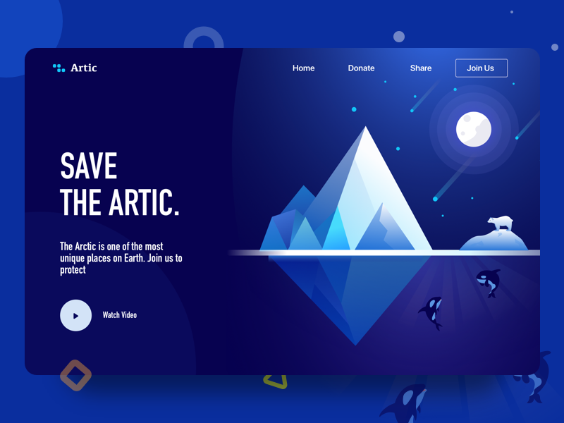 landing page | Save the artic iceberg orca us join save polar artic sea page landing
