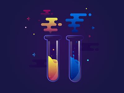 Chemistry Lab - 5 space liquid lab tube test icon illustration chemistry
