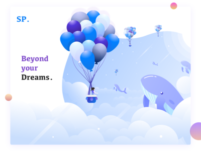Beyond your dreams.... clouds sp stars whale sudhan web skyline illustration baloon