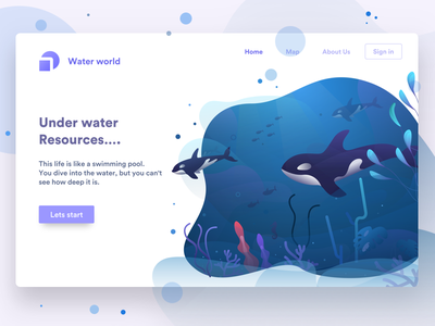 underwater waterworld sudhan . header web plants fish orca illustration water under