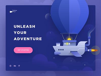 Nimbus illustration stars dribbble adventure sudhan airship illustration nimbus