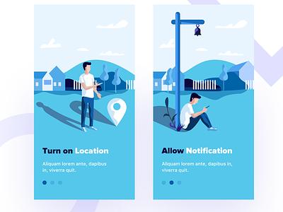 startup illustration-2 onboarding dribbble iphone location notification illustration startup sudhan