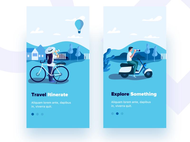 Startup illustration-3 mobile ps onboarding app she merita sudhan balloon traveling explore startup illustration
