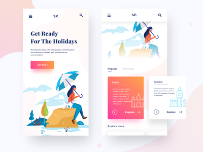 Mobile responsive nice100 spring dog vector space she itinerary get started umbrella rain new year bannner typography design ios sudhan illustration responsive mobile traveling