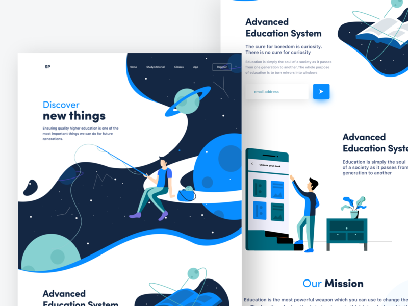 Education website studies discover education nice100 windows android mac planets stars banner typography sudhan vector design iphone mobile ps illustration