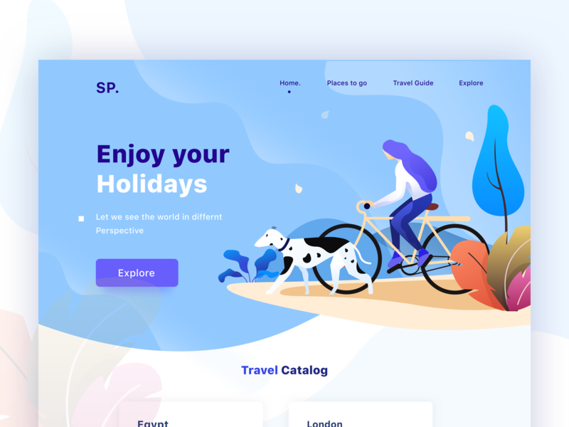 Holiday web header plants banner do good explore holidays cycle dog branding space iphone she ios ux vector typography design sudhan ps mobile illustration