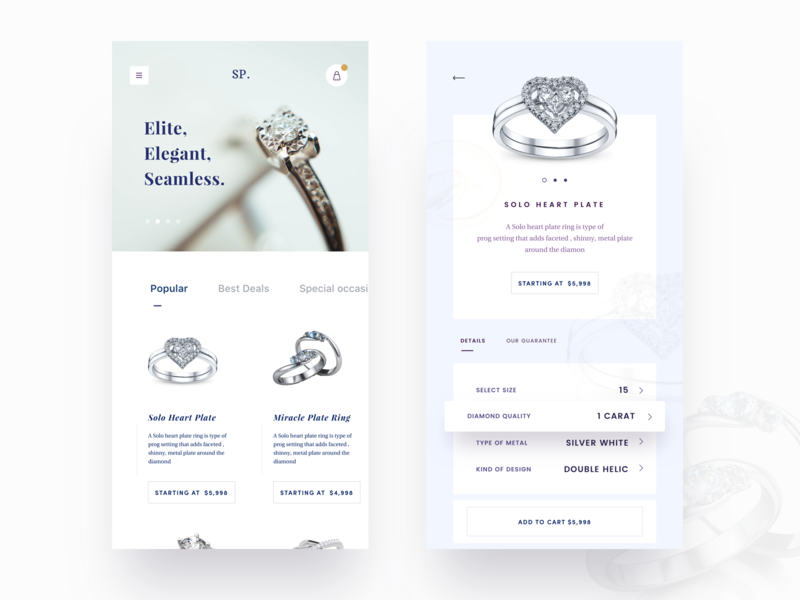 Mobile Responsive heart nice100 ux space ui sapphire stone wedding ring wedding cards occasion ring cart diamond typography design vector jewellery shop mobile app sudhan