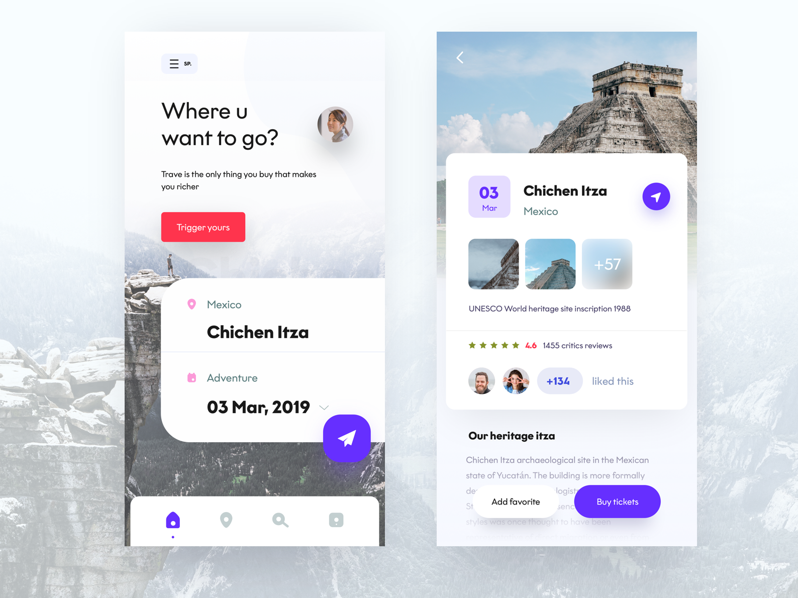 travel app screens favorite trigger sp home page flight screens typography travel agency chichen itza machu pitchu ticket travel ux vector design iphone mobile web sudhan