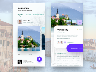travel app screens blue popular venice search booking ticket inspiration ios web dribbble nice100 app ux branding vector typography design ps mobile sudhan illustration