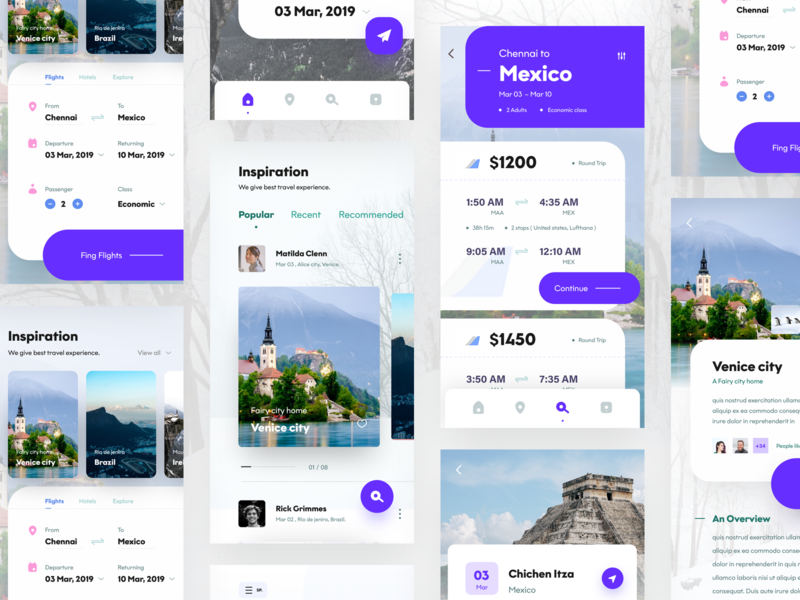 travel app screens venice beach dribbbble nice100 liquid caption banner ui home screen mobile travel agency venice travel design logo vector typography illustration sudhan web app