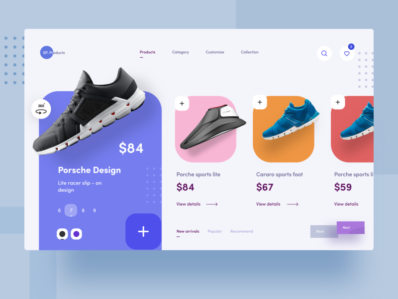 e commerce web exploration she vector products add cart price nice100 bblue dribbble mobile ux branding e commerce porche nike shoes typography iphone design web sudhan illustration